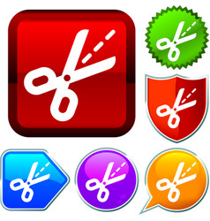 Set shiny icon series on buttons scissors vector