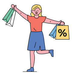 shopping woman happy discounts and sales vector image