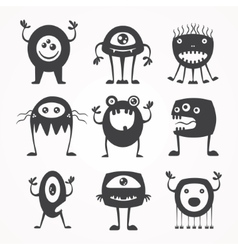 Silhouettes of monsters vector