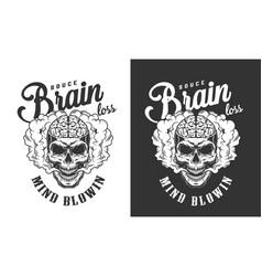 Skull with human brain label vector