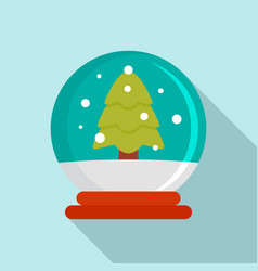 snow tree glass ball icon flat style vector image