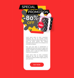 Special promotion of shop 80 percent sale banner vector