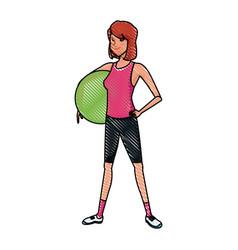 Sport girl fitball pilates fitness image vector