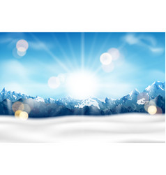 Sunny mountain range with fog and snow background vector