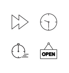 Time outline icons set vector