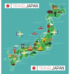 Travel Map of Japan vector image