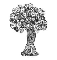 tree with coins engraving vector image