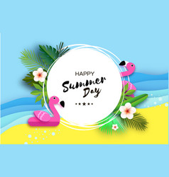 tropical summer day pink flamingo float origami vector image
