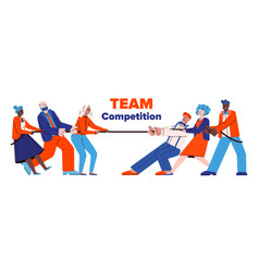 Two business teams people pulling rope flat vector
