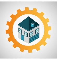 under construction gear house vector image