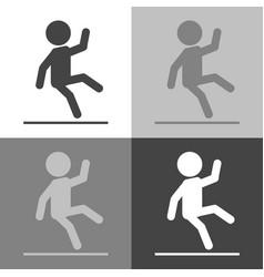 Wet floor warning sign set icon man falls vector