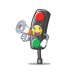 With megaphone traffic light character cartoon vector