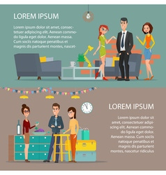 Women and man Corporate holiday Cartoon poster vector
