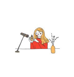 Young woman recording asmr sounds vector