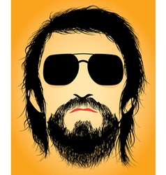 Bearded man silhouette vector image vector image