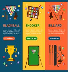 billiard game equipment banner vecrtical set vector image