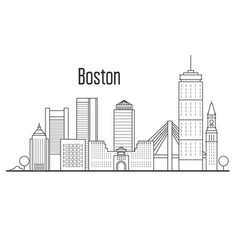 boston city skyline - downtown cityscape vector image