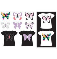 butterfly application on t-shirt vector image vector image