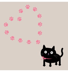 Cat and paw print heart frame template Flat design vector image