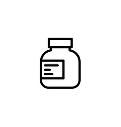 line pills bottle icon on white background vector image vector image