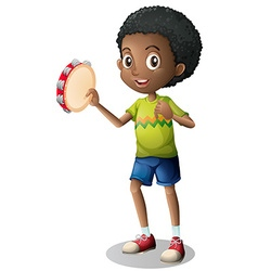 Little boy playing tambourine vector image