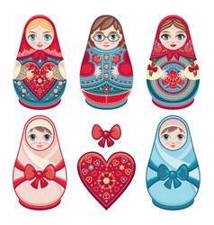 matryoshka babushka doll set vector image