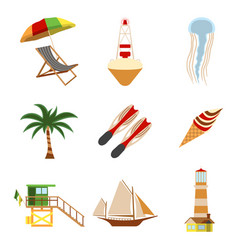 sea and tourism flat icon set cartoon vector image