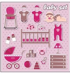 Set of baby girl icons vector image vector image