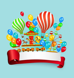 flat amusement park banner with scroll for text vector image