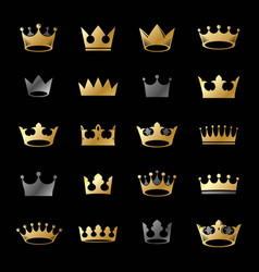 royal crowns ancient emblems elements set vector image vector image