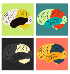 Set of brain in flat monochrome color on white vector