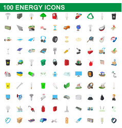 100 energy icons set cartoon style vector image vector image