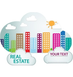 Banner with real estate in cloud vector image vector image