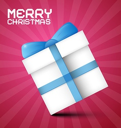 Merry Christmas Paper Gift Box with Blue Ribbon on vector image