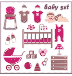 Scrapbook elements with baby girl things vector image
