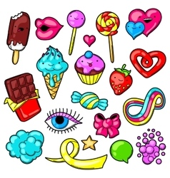 Set of kawaii sweets and candies Crazy sweet vector image vector image