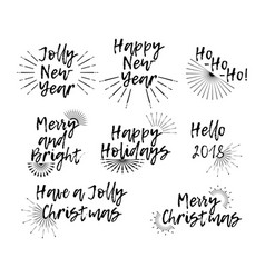 set of merry christmas card with calligraphy text vector image vector image