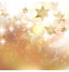 Beautiful golden christmas stars on a golden bokeh vector image vector image