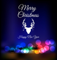 Christmas reindeer on bokeh background vector image vector image
