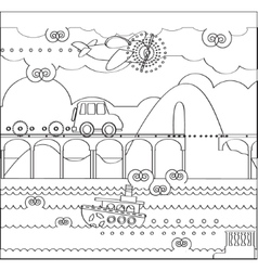 Coloring Page about Travel with Bridge vector image