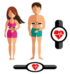 Heart rate monitor for healthy man and women vector image vector image