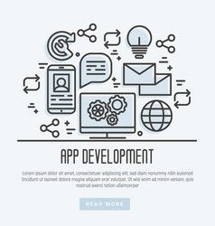 icons of mobile app development process thin line vector image vector image