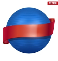 Label of Classic blue Fitball with ribbon vector image vector image