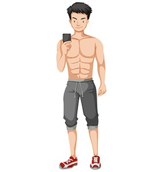 Muscular man taking selfie with the phone vector image vector image