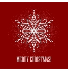 Red Christmas background with snowflake vector image