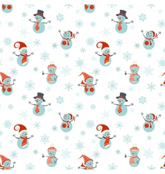 Seamless pattern of snowmen on white background vector image