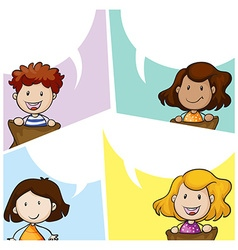 Speech bubble template with many kids vector image vector image
