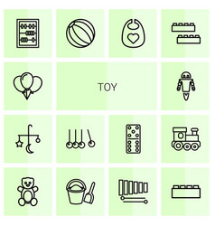 14 toy icons vector