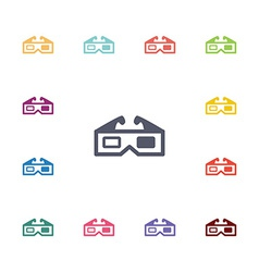 3d cinema flat icons set vector image