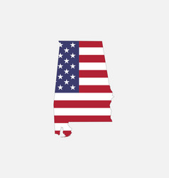 alabama map on american flag vector image